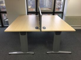 2 - RECT DESKS IN MAPLE - 1600MM X 800MM - GOOD CONDITION - PEDS & SCREEN AVAIL