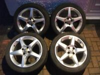 "Vauxhall Corsa/Tigra 17"" Inch SRI Penta Alloys With Good Tyres. 4 Stud. 215/45/17. *L00K*"