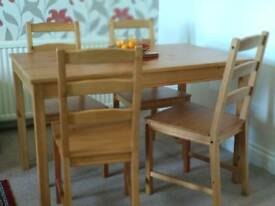 "Ikea ""Jokkmokk"" Solid Pine Dining table + 4 chairs"