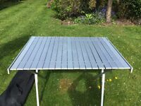 VERSATILE ALUMINIUM FOLD UP TABLE. CAN BE USED FOR CAMPING OR AS A DECORATORS TABLE. EASY CARRIER