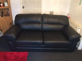 Black leather 2 seater bed settee