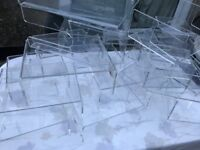 26 X CLEAR ACRYLIC SHOP DISPLAY PLINTHS / STANDS BY LUMINATI JEWELLERY SHOES ETC 3 TYPES £85