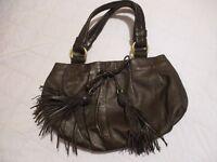 Dollargrand Brown Leather Designer Handbag