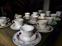 Job Lot 50 Vintage China Non Matching Sets Tea Cups, Saucers & Side Plates