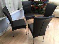4 x Harvey's chocolate deep cushioned dining chairs