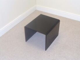 Small Black Bent Curved Glass Modern Side Table
