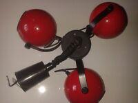 CEILING SPOTLIGHT. RETRO 70s. RED/BLACK. EYEBALL TYPE. COLLECT>N3