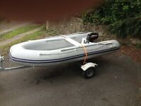 Waveline 310 Rib Boat with Mercury 3.3hp 2 Stroke Outboard Motor & Trailer in Outstanding Condition