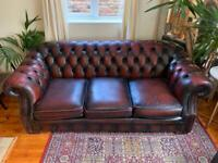 Oxblood Chesterfield Style Sofa