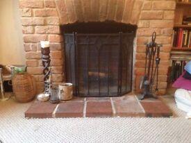 Wrought iron fire basket, companion set and guard