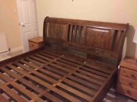**REDUCED** Mango Wood Sleigh Bed & 6 DRW Chest
