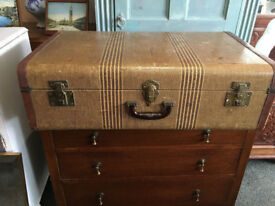 Lovely Vintage 1930's Leather Canvas Brown Suitcase Trunk
