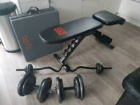 weigh bench, mat and weights