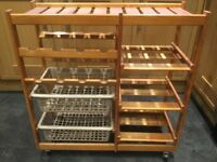 Wooden kitchen storage trolley