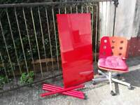 Ikea red desk and swivel chair