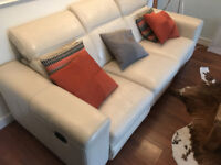 Leather reclining sofa cream