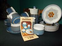 Blue/white 21 piece Chatsworth by Denby coffee set.Unused.perfect condition