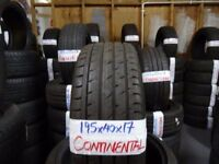 MATCHING SET of 195 40 17 CONTIS 6MM TREAD £35 EACH OR £120 SET SUP & FITD (loads more av} TXT SIZE