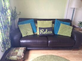 Large 3-4 seater sofa, dark brown, aprox 82 inch X 34 deep, Italian leather, few marks as pics P