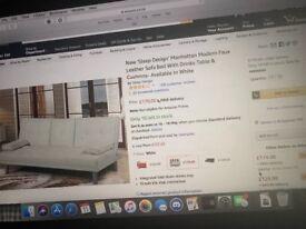 "New ""Sleep Design"" Manhattan Faux Leather sofa bed"