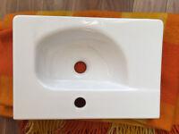 New Trento White Ceramic wall hung compact basin