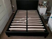 Black Faux Leather Bed