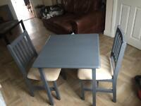 Wooden table and chairs pine painted grey