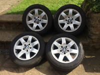 """GENUINE 16"""" BMW E46 ALLOY WHEELS WITH VERY GOOD TYRES 205 55 16 PCD 5X120"""