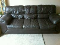 Sofa brown leather 3 seater