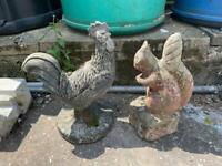 Cockerel and squirrel garden Orndiments