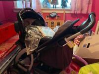 Push chair with car seat and raincover