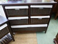 Basket chest of drawers and 2 x matching bedside tables