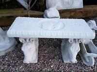 Concrete horse heads bench seat garden