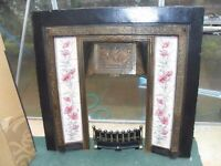 CHEAP CAST IRON VINTAGE TILED FIREPLACE WITH ATTACHMENTS CAN DELIVER