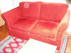 Settee / Sofa - Two / Three Seater in Red. Virtually as New Condition - REDUCED FOR QUICK SALE