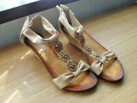 """Ladies Brand New Pretty Size 8 (41 Cream colour 2"""" wedge heel"""