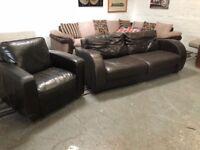 Real leather two piece sofa set nice comfy