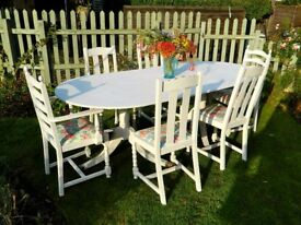 Large shabby chic dining table and 6 chairs