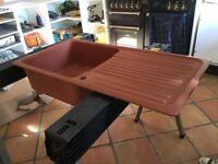 Composite/granite Terracotta kitchen sink 1000 x 500