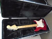 Red Squire Stratocaster by Fender Standard Series with Hard Black Rat Case s/n CY01039076