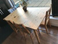 Extendable Wooden Dining Table & 4 Matching Chairs