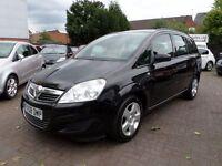 Vauxhall Zafira 1.6 i 16v Exclusiv 5dr 2008 (08 reg), MPV 7 SEATER, FULL MOT, BLACK, 72,000 MILES