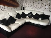 Gorgeous Black and White Leather DFS Corner Sofa with Storage Footstool. Very Comfortable