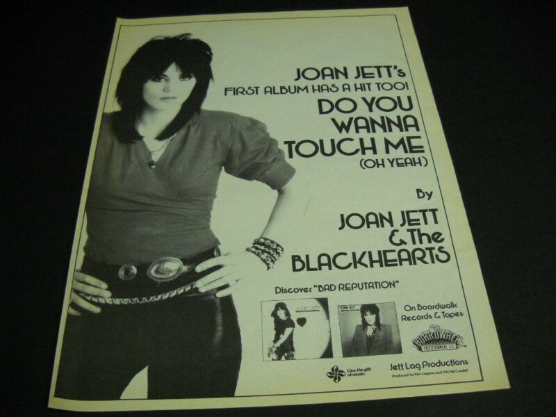 JOAN JETT & The Blackhearts DO YOU WANNA TOUCH ME original 1982 Promo Poster Ad