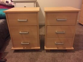 2 beech bedside tables for sale.