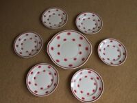 """Susie Cooper Pottery –""""One o'clocks"""" - Side/Tea Plates and Cake Plate"""