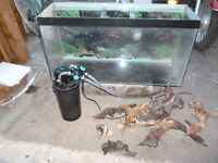 TROPICAL FISH TANK , ANCILLIARIES AND CABINET