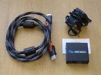 HDMI SPLITTER (1 IN 2 OUT) WITH UK 3 PIN POWER SUPPLY AND QUALITY HDMI CABLE