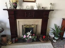Adams Style Fireplace sand coloured marble surrounded by mahogany