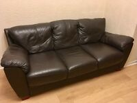 Large Brown 3 Seater Ex Harvey's Leather Sofa